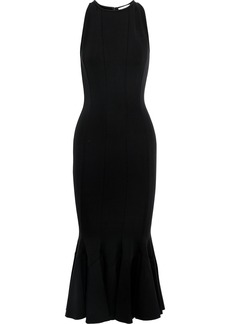 Victoria Beckham Woman Fluted Stretch-ponte Midi Dress Black