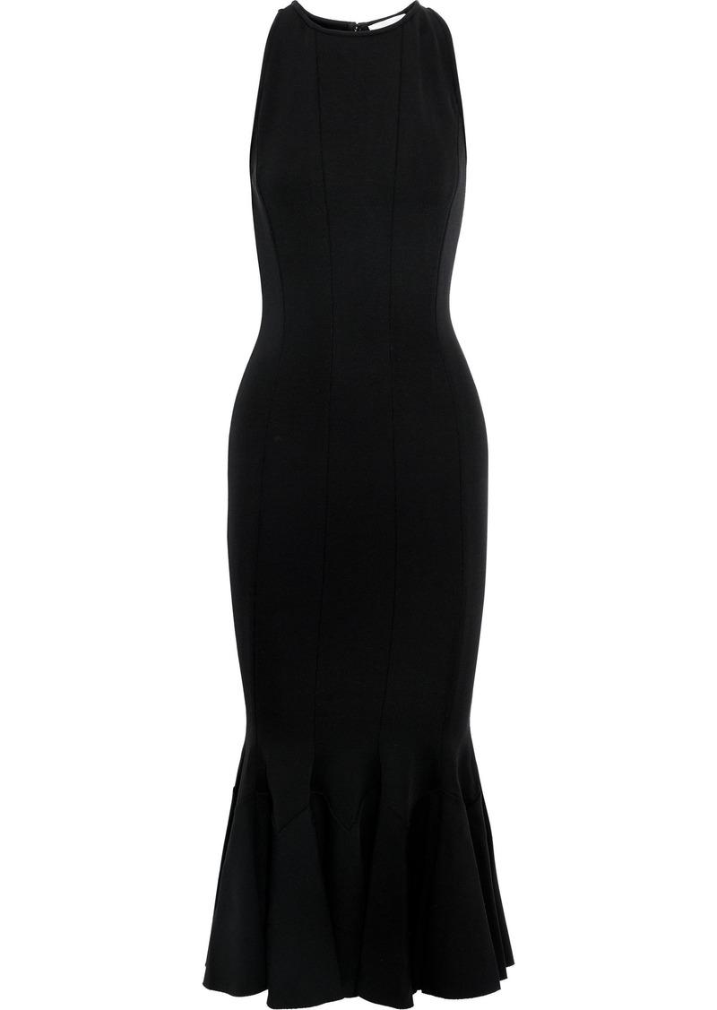 Victoria Beckham Woman Fluted Stretch-ponte Midi Dress Black