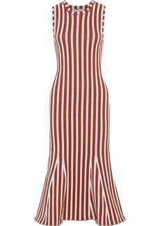 Victoria Beckham Woman Fluted Ribbed Striped Cotton-blend Dress Tan