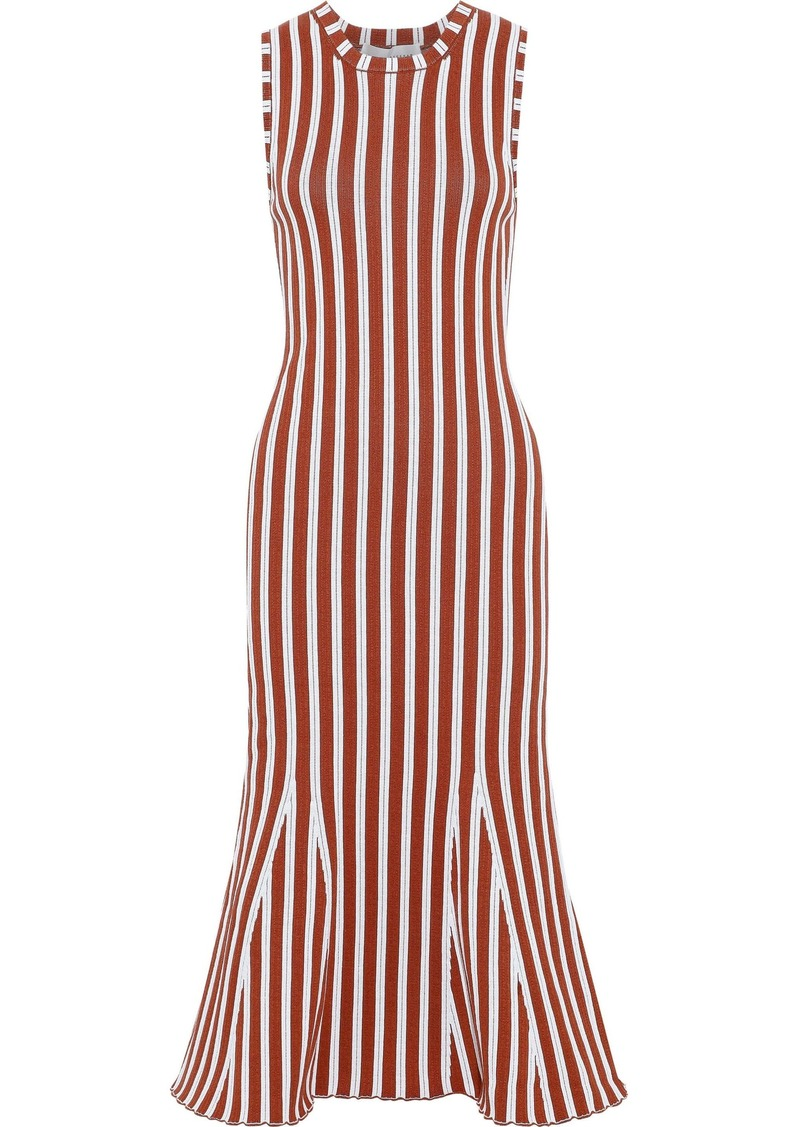 Victoria Beckham Woman Fluted Ribbed Striped Cotton-blend Dress Tan