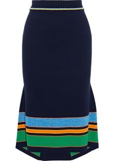 Victoria Beckham Woman Fluted Striped Cotton-blend Skirt Midnight Blue