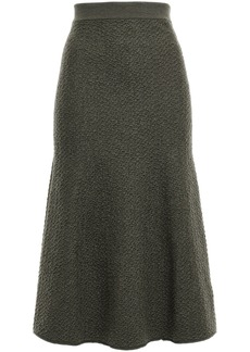Victoria Beckham Woman Fluted Wool-cloqué Midi Skirt Army Green