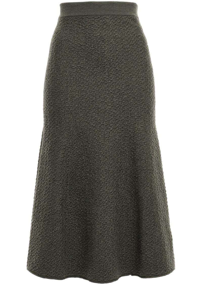 Victoria Beckham Woman Fluted Wool-cloqué Midi Skirt Army Green
