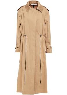 Victoria Beckham Woman Gathered Cotton-blend Gabardine Trench Coat Camel