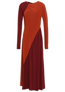 Victoria Beckham Woman Gathered Two-tone Stretch Crepe-jersey Midi Dress Brick