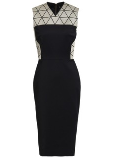 Victoria Beckham Woman Jacquard-paneled Cotton-blend Dress Black