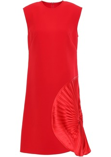 Victoria Beckham Woman Pleated Silk-satin Paneled Crepe Dress Red
