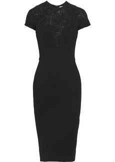 Victoria Beckham Woman Lace-paneled Crepe Dress Black
