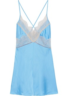 Victoria Beckham Woman Lace-trimmed Satin Camisole Sky Blue