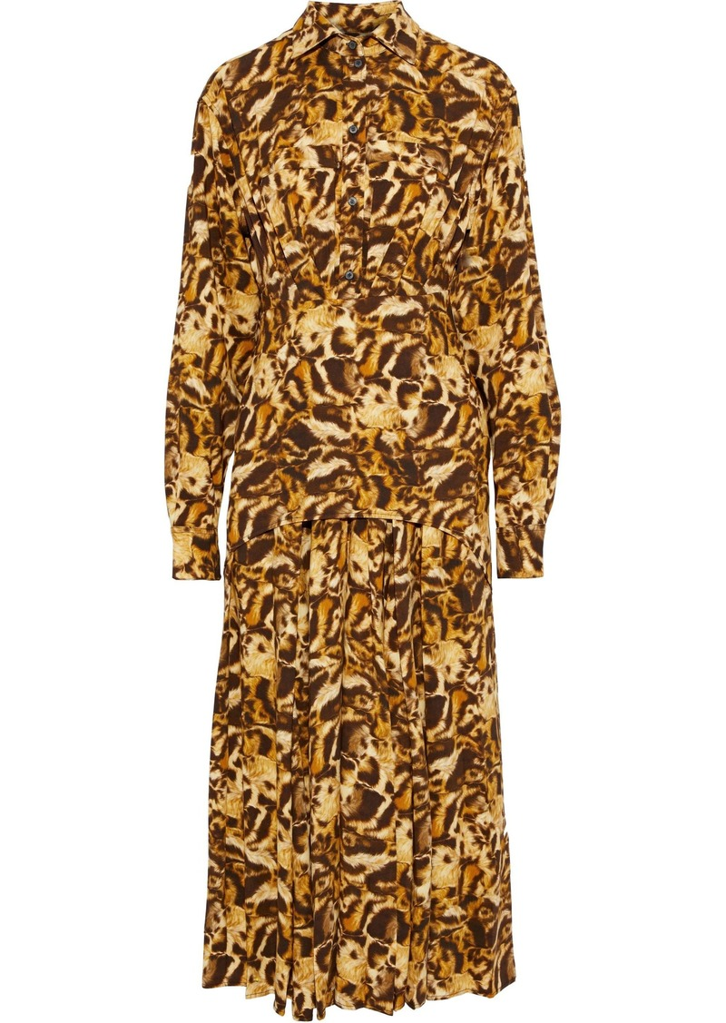 Victoria Beckham Woman Layered Leopard-print Crepe De Chine Midi Shirt Dress Animal Print