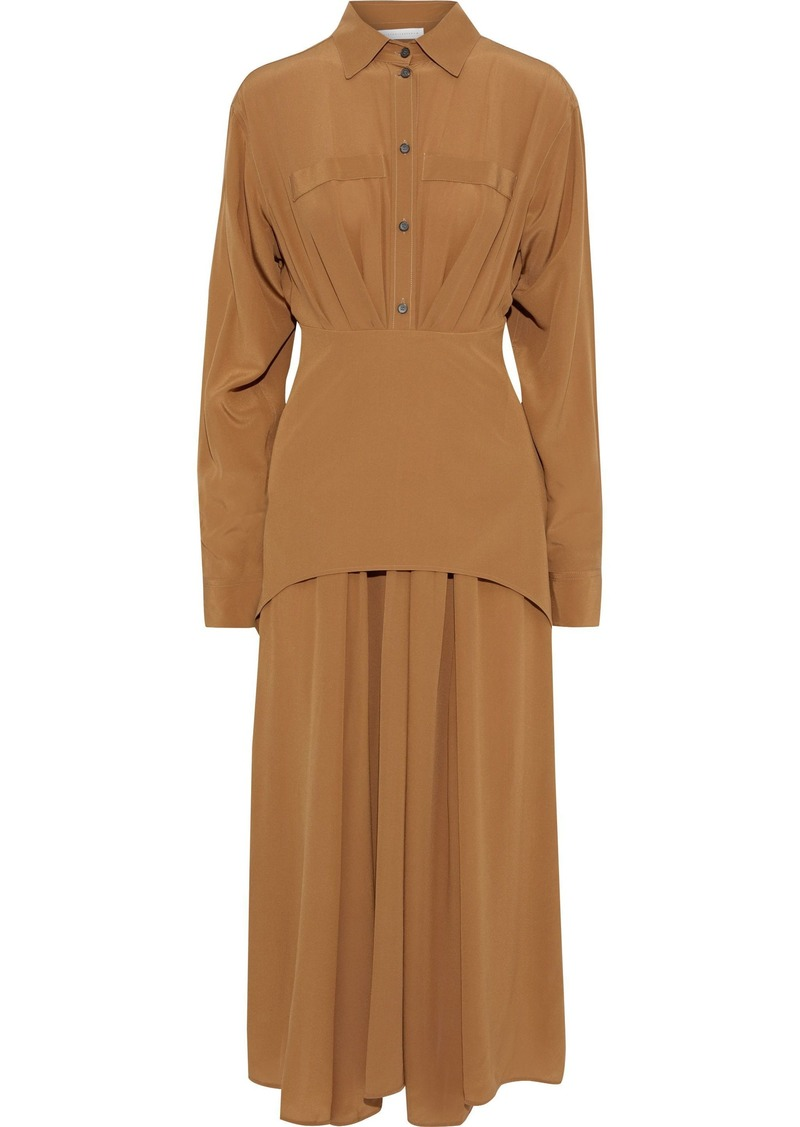 Victoria Beckham Woman Layered Pleated Silk Crepe De Chine Midi Dress Camel
