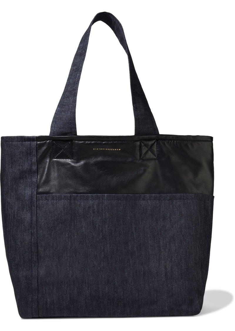 Victoria Beckham Woman Leather-paneled Denim Tote Black