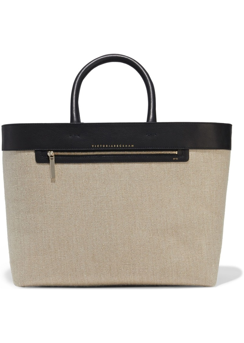 Victoria Beckham Woman Leather-trimmed Linen-canvas Tote Black