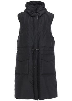 Victoria Beckham Woman Leather-trimmed Quilted Shell Hooded Coat Black