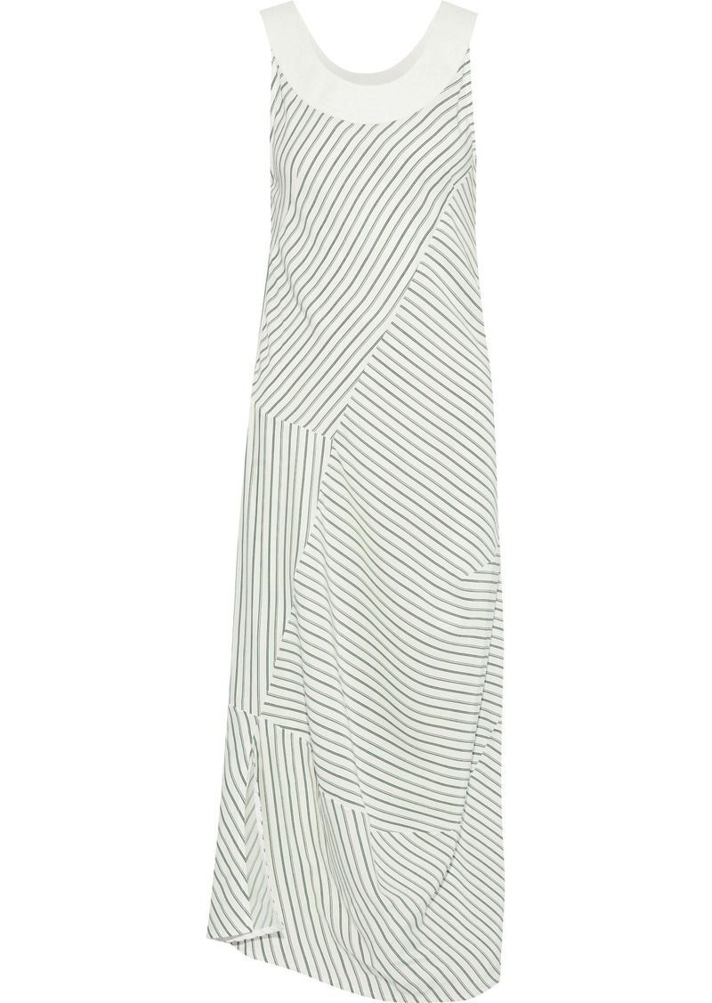 Victoria Beckham Woman Leather-trimmed Striped Silk Crepe De Chine Midi Dress Green