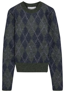Victoria Beckham Woman Argyle Jacquard-knit Mohair-blend Sweater Dark Green