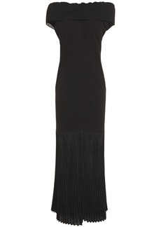 Victoria Beckham Woman Off-the-shoulder Pleated Knitted And Crepe Maxi Dress Black