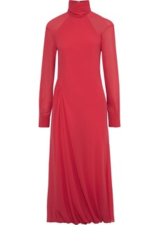 Victoria Beckham Woman Open-back Gathered Georgette Turtleneck Midi Dress Bright Pink