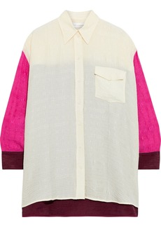 Victoria Beckham Woman Oversized Color-block Cloqué Shirt Cream
