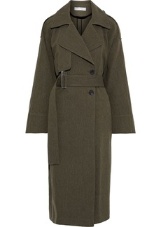Victoria Beckham Woman Oversized Gabardine Trench Coat Army Green