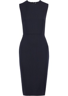Victoria Beckham Woman Paneled Pinstriped Wool-blend Dress Midnight Blue