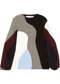 Victoria Beckham Woman Paneled Ribbed-knit Houndstooth Wool And Sateen Sweater Multicolor