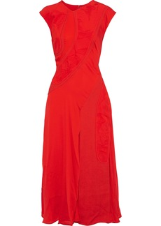 Victoria Beckham Woman Patchwork Crepe Jacquard And Silk Crepe De Chine Midi Dress Red