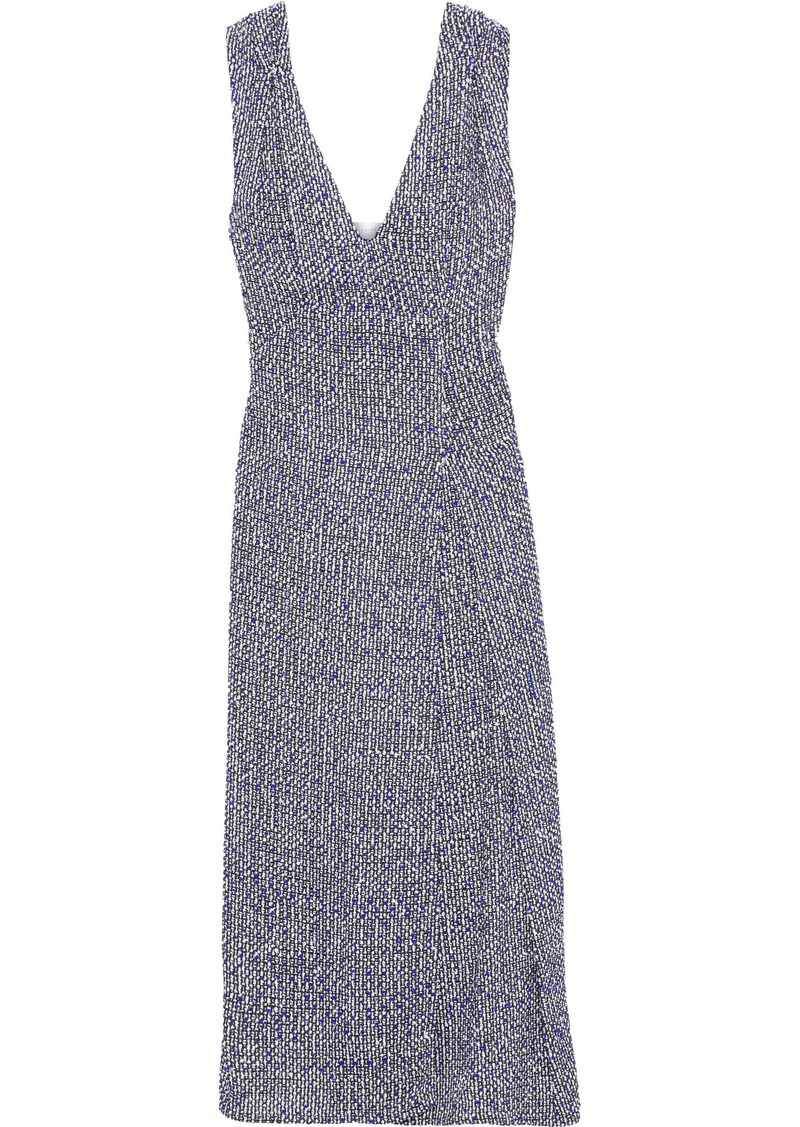 Victoria Beckham Woman Pleated Bouclé-tweed Midi Dress Azure