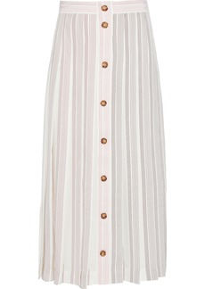 Victoria Beckham Woman Pleated Button-detailed Striped Silk-crepe Midi Skirt Claret