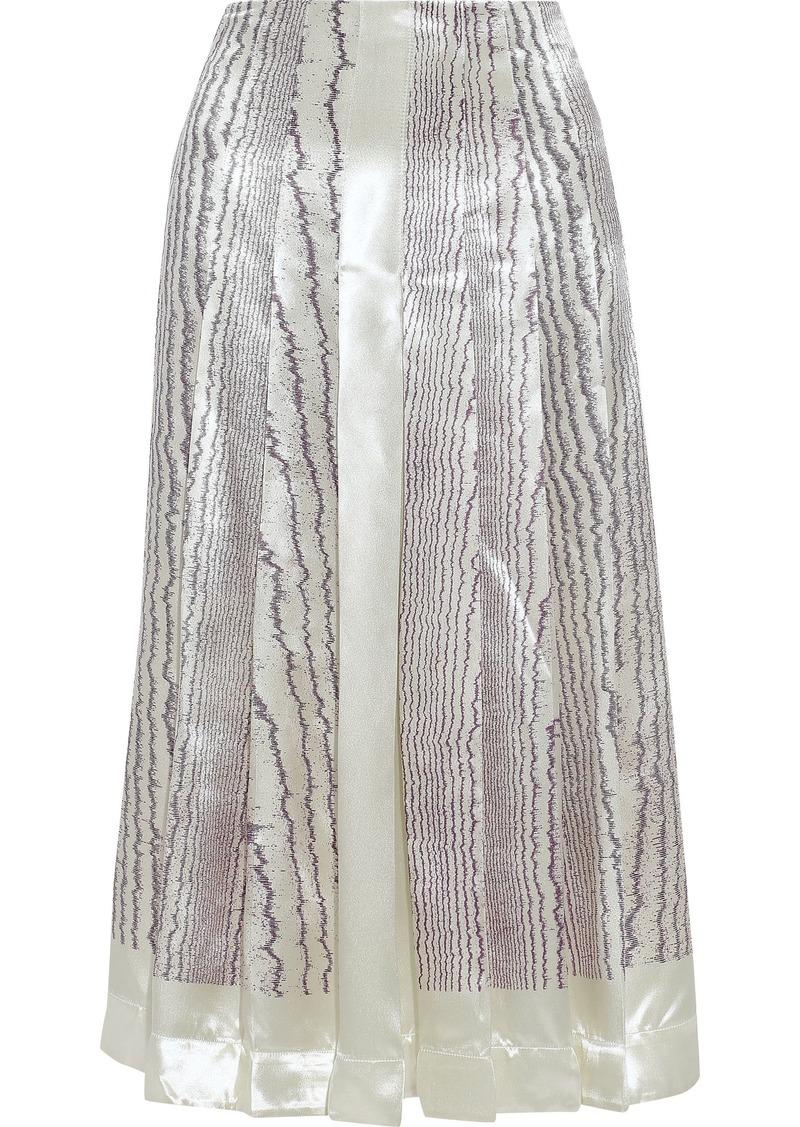 Victoria Beckham Woman Pleated Printed Satin-crepe Midi Skirt Purple