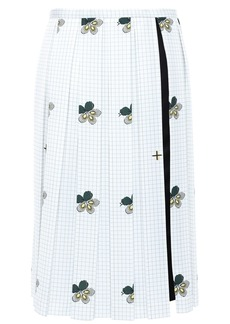 Victoria Beckham Woman Pleated Printed Satin-crepe Skirt White