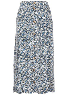 Victoria Beckham Woman Pleated Printed Silk-georgette Midi Skirt Blue