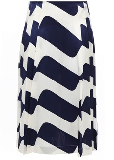 Victoria Beckham Woman Pleated Printed Silk-satin Skirt Navy