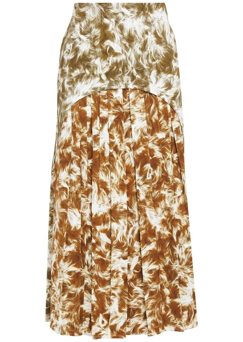 Victoria Beckham Woman Pleated Printed Stretch-crepe Midi Skirt Light Brown