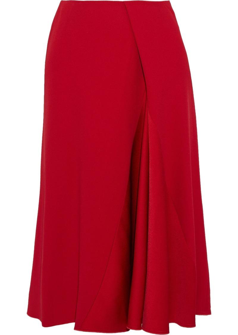Victoria Beckham Woman Pleated Satin-paneled Crepe Skirt Red