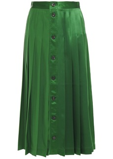 Victoria Beckham Woman Pleated Silk-satin Midi Skirt Green