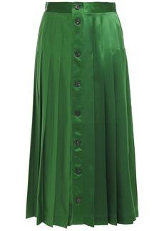 Victoria Beckham Woman Pleated Silk-satin Midi Skirt Green