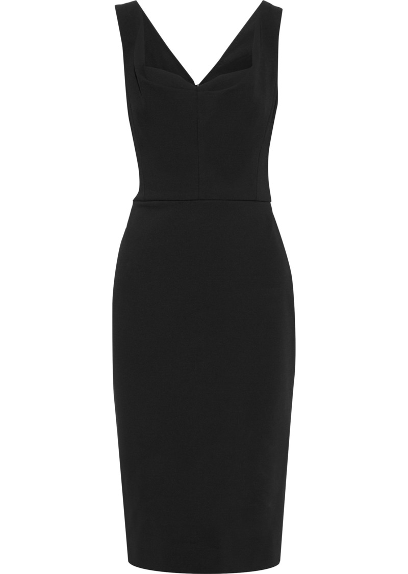 Victoria Beckham Woman Pleated Stretch-ponte Dress Black