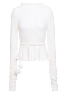 Victoria Beckham Woman Pom Pom-embellished Bouclé-knit Wool-blend Peplum Sweater Ivory