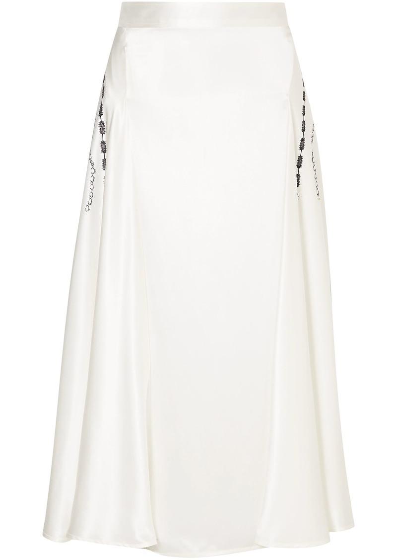 Victoria Beckham Woman Printed Silk-satin Midi Skirt White