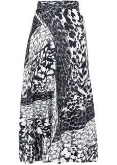 Victoria Beckham Woman Printed Silk-twill Midi Skirt Navy