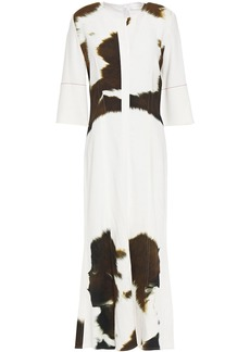 Victoria Beckham Woman Printed Stretch-cady Midi Dress White