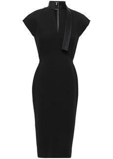 Victoria Beckham Woman Quilted Silk Satin-trimmed Bonded Crepe Dress Black