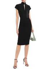 Victoria Beckham Woman Quilted Silk Satin-trimmed Bonded Crepe Dress Black