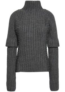 Victoria Beckham Woman Ribbed Alpaca And Wool-blend Sweater Dark Gray
