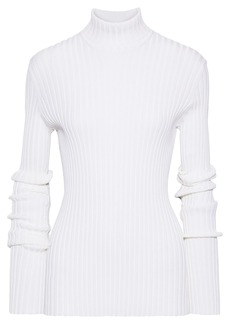 Victoria Beckham Woman Ribbed Cotton-blend Turtleneck Sweater Ivory