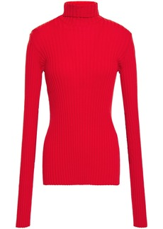 Victoria Beckham Woman Ribbed Cotton-blend Turtleneck Sweater Red