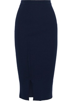 Victoria Beckham Woman Ribbed-knit Midi Skirt Navy