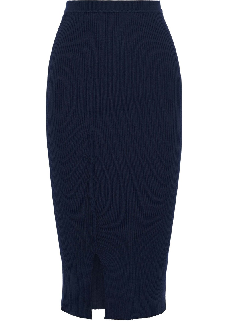Victoria Beckham Woman Ribbed-knit Midi Skirt Navy