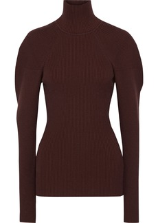 Victoria Beckham Woman Ribbed-knit Turtleneck Sweater Burgundy